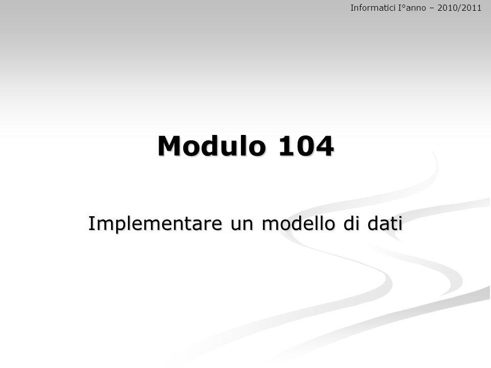 Modulo 104 Implementare un modello di dati Informatici I°anno – 2010/2011