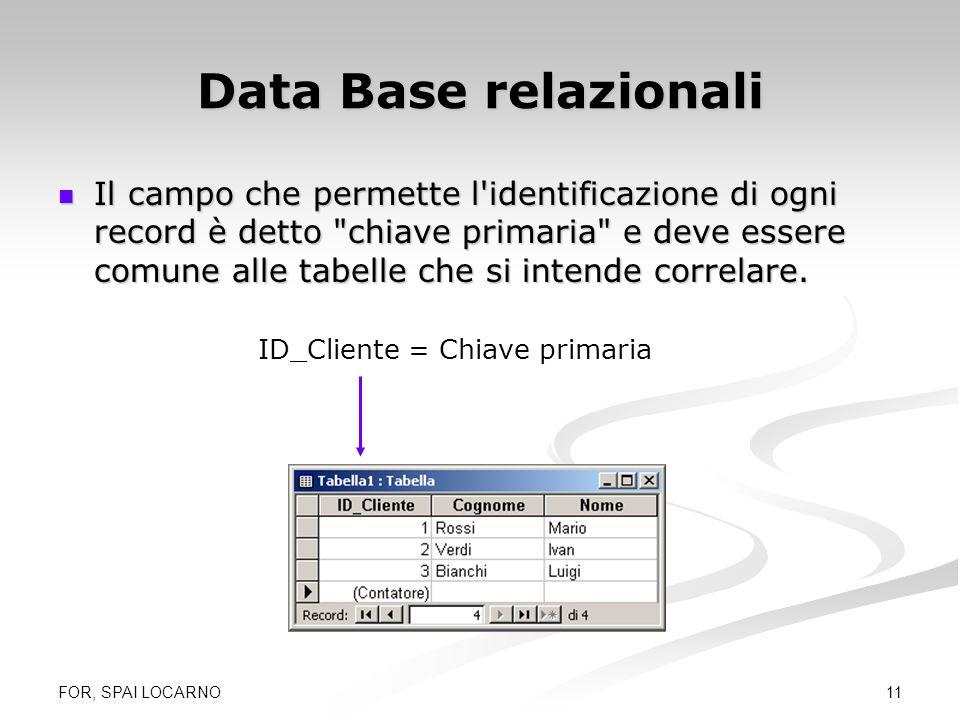 FOR, SPAI LOCARNO 11 Data Base relazionali Il campo che permette l'identificazione di ogni record è detto
