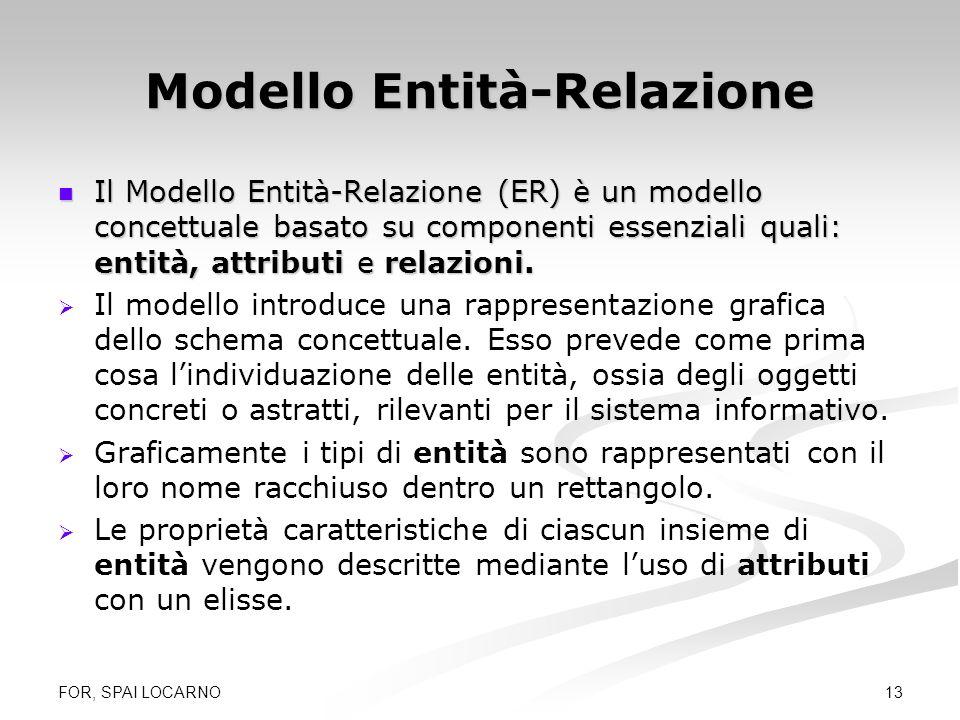 FOR, SPAI LOCARNO 13 Modello Entità-Relazione Il Modello Entità-Relazione (ER) è un modello concettuale basato su componenti essenziali quali: entità,