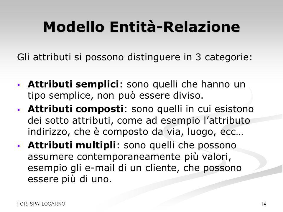 FOR, SPAI LOCARNO 14 Modello Entità-Relazione Gli attributi si possono distinguere in 3 categorie: Attributi semplici: sono quelli che hanno un tipo s
