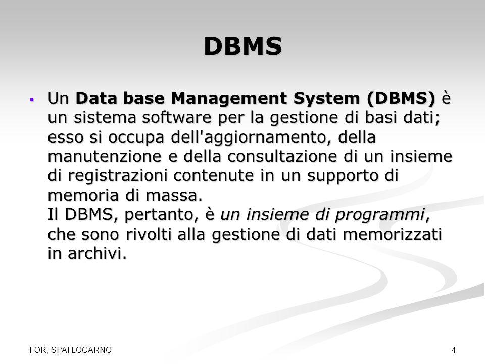 FOR, SPAI LOCARNO 5 I vari DBMS Quali DBMS in ambiente PC: Quali DBMS in ambiente PC: dBase (per windows) dBase (per windows) FoxPro (per windows) FoxPro (per windows) Access (per windows) Access (per windows) SQL server (client/server) SQL server (client/server) Oracle (client/server) Oracle (client/server) Informix (client/server) Informix (client/server) ….