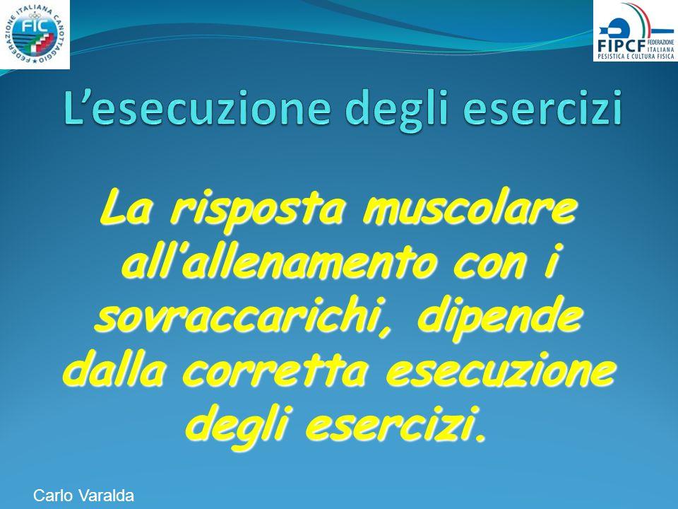 La risposta muscolare allallenamento con i sovraccarichi, dipende dalla corretta esecuzione degli esercizi. Carlo Varalda