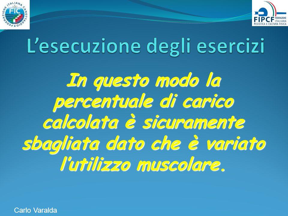 In questo modo la percentuale di carico calcolata è sicuramente sbagliata dato che è variato lutilizzo muscolare. Carlo Varalda