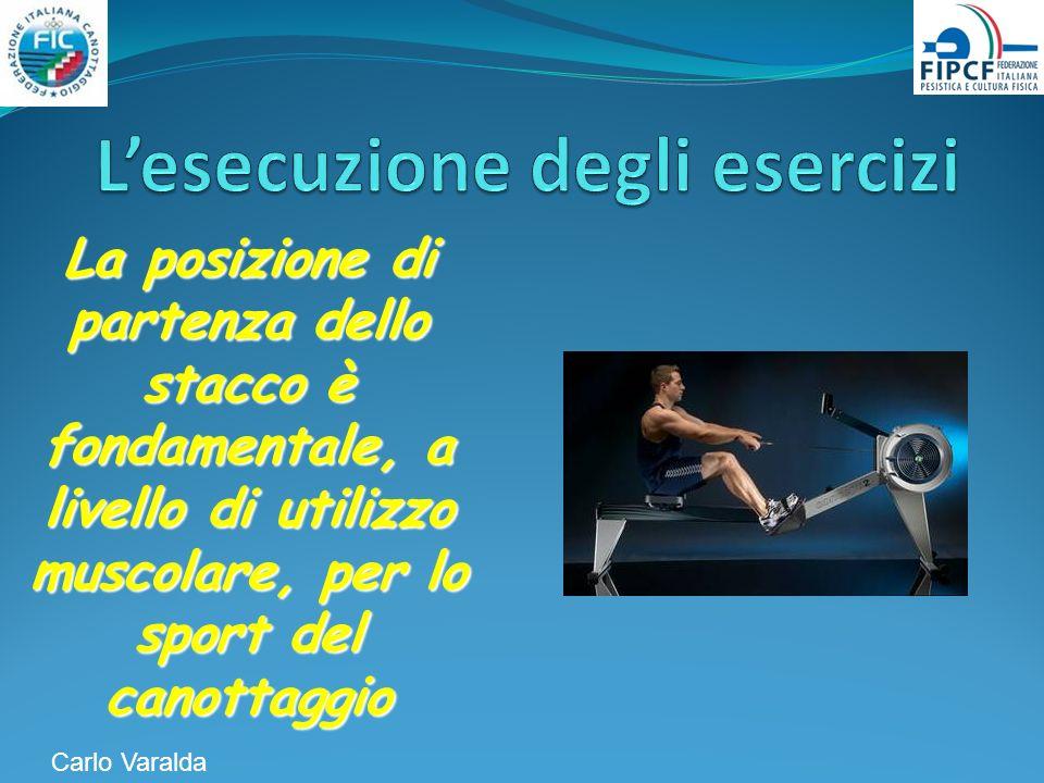 La posizione di partenza dello stacco è fondamentale, a livello di utilizzo muscolare, per lo sport del canottaggio Carlo Varalda