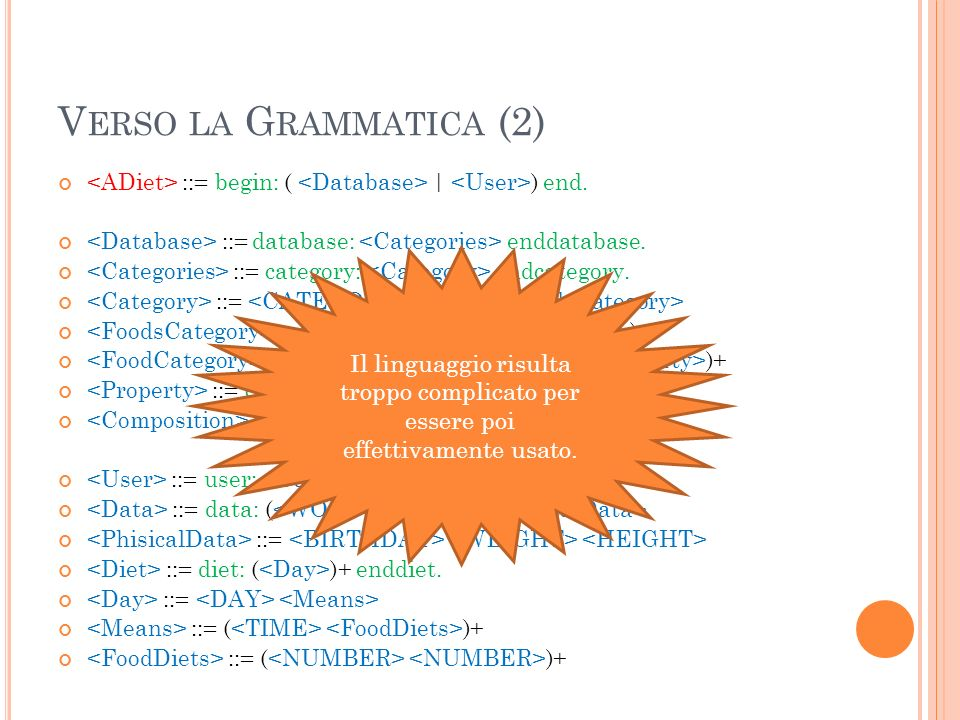 V ERSO LA G RAMMATICA (2) ::= begin: ( | ) end. ::= database: enddatabase.