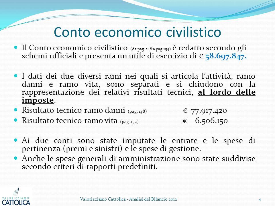 Conto economico civilistico Il Conto economico civilistico (da pag. 148 a pag 154) è redatto secondo gli schemi ufficiali e presenta un utile di eserc