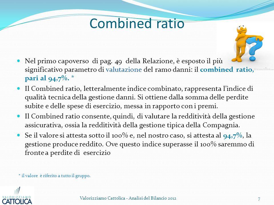 Combined ratio Nel primo capoverso di pag. 49 della Relazione, è esposto il più significativo parametro di valutazione del ramo danni: il combined rat