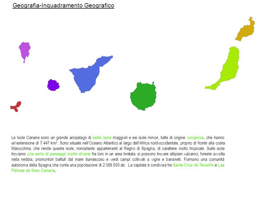 Tenerife 2.034,21 km² (capitale è Santa Cruz de Tenerife), isola più popolosa delle isole Canarie e Spagna.
