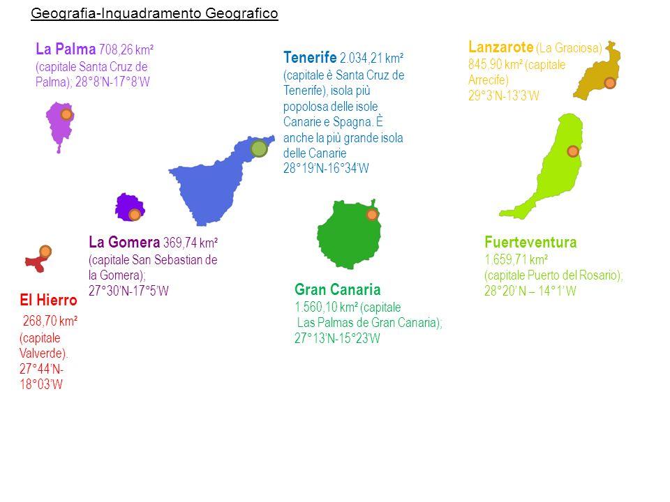 Tenerife Fuerteventura Gran Canaria Lanzarote La Palma La Gomera El Hierro Geografia-Il clima LArcipelago delle Canarie gode di una temperatura prevalentemente tropicale, risente dellinflusso dei venti Alisei e del vento Calima.