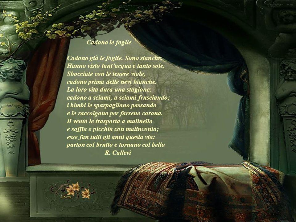 Autunno Il cielo ride un suo rito turchino benché senta linverno ormai vicino. Il bosco scherza con le foglie gialle benché linverno senta ormai alle