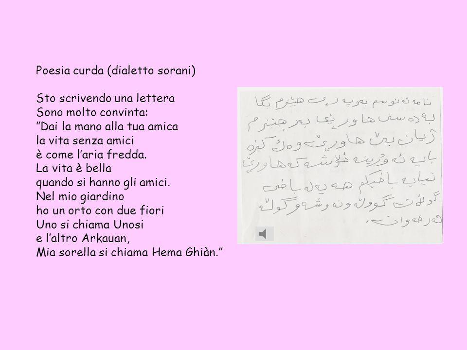 Poesia curda (dialetto sorani) Sto scrivendo una lettera Sono molto convinta: Dai la mano alla tua amica la vita senza amici è come laria fredda.