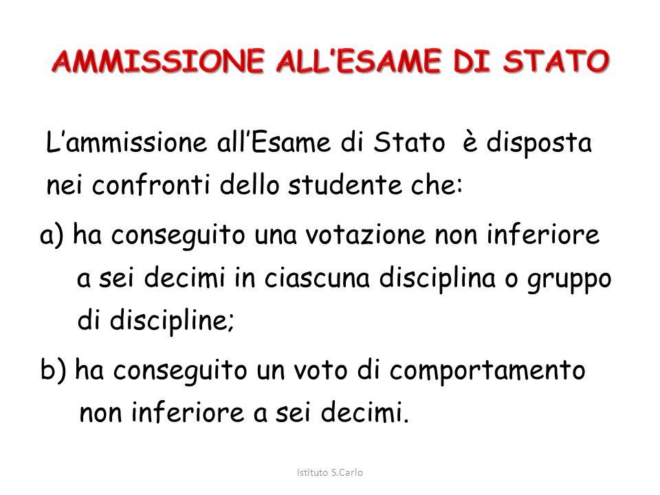 ESAME DI STATO Informazioni generali e normativa Istituto S.Carlo