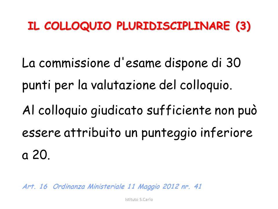 IL COLLOQUIO PLURIDISCIPLINARE (2) Il colloquio ha inizio con un argomento o con la presentazione di esperienze di ricerca e di progetto, anche in for