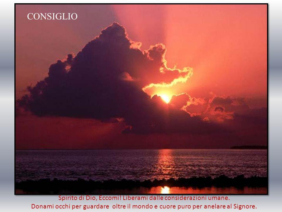 Spirito di Dio, eccomi, ti chiedo perdono, purifica la mia anima e donale la coscienza vera della propria vita.