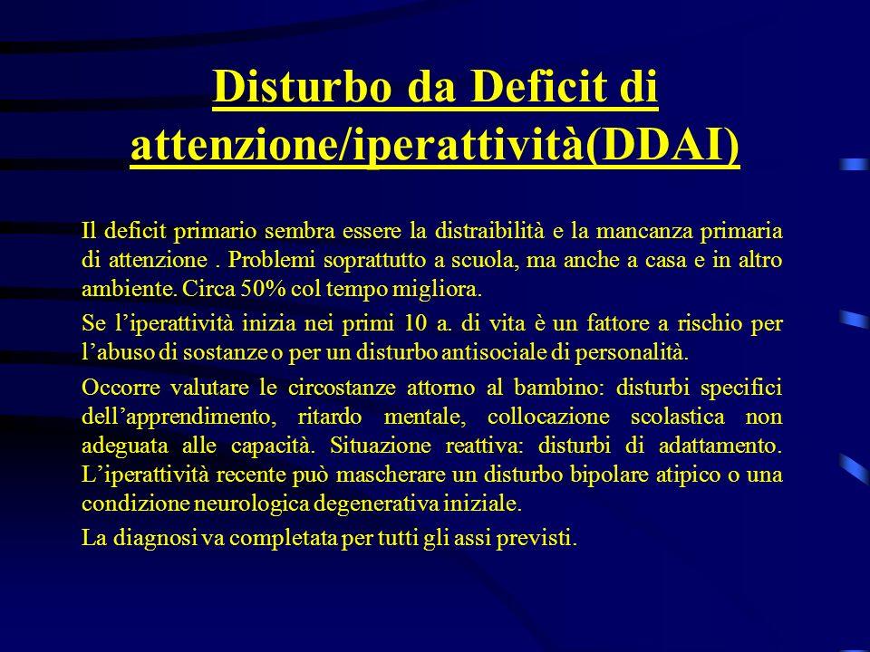 Disturbo da Deficit di attenzione/iperattività(DDAI) Il deficit primario sembra essere la distraibilità e la mancanza primaria di attenzione. Problemi