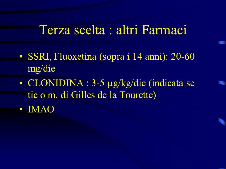Terza scelta : altri Farmaci SSRI, Fluoxetina (sopra i 14 anni): 20-60 mg/die CLONIDINA : 3-5 g/kg/die (indicata se tic o m. di Gilles de la Tourette)