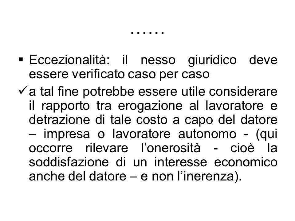 …… Eccezionalità: il nesso giuridico deve essere verificato caso per caso a tal fine potrebbe essere utile considerare il rapporto tra erogazione al l