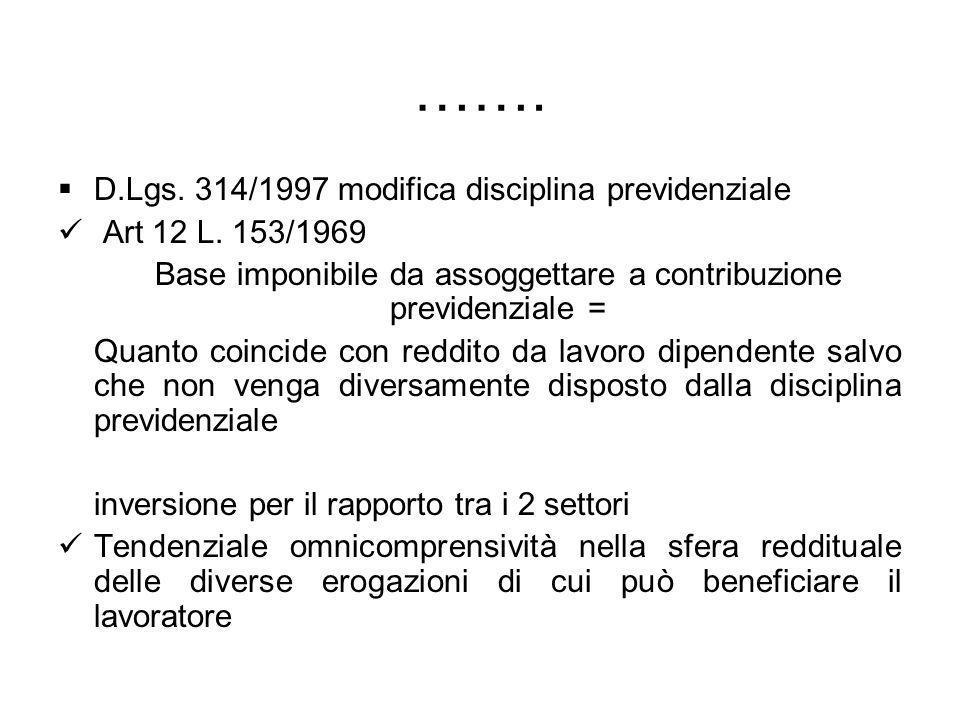 ……. D.Lgs. 314/1997 modifica disciplina previdenziale Art 12 L. 153/1969 Base imponibile da assoggettare a contribuzione previdenziale = Quanto coinci