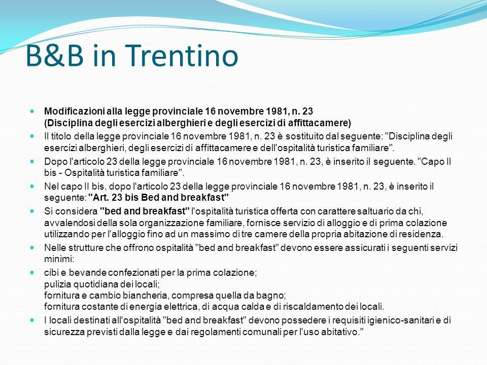 B&B in Trentino Modificazioni alla legge provinciale 16 novembre 1981, n. 23 (Disciplina degli esercizi alberghieri e degli esercizi di affittacamere)