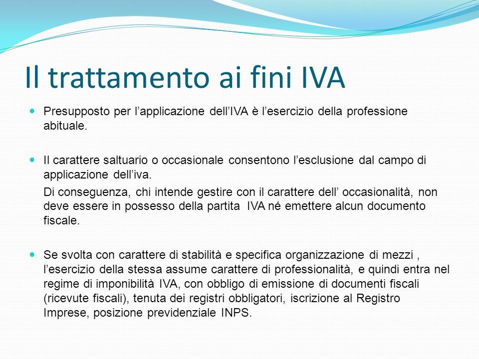 Il trattamento ai fini IVA Presupposto per lapplicazione dellIVA è lesercizio della professione abituale. Il carattere saltuario o occasionale consent