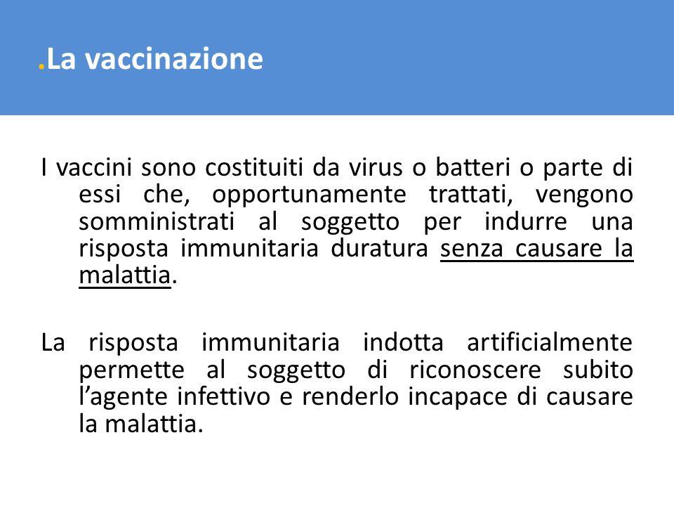 .La vaccinazione I vaccini sono costituiti da virus o batteri o parte di essi che, opportunamente trattati, vengono somministrati al soggetto per indu