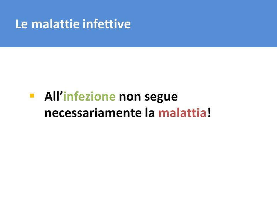 Le malattie infettive Allinfezione non segue necessariamente la malattia!