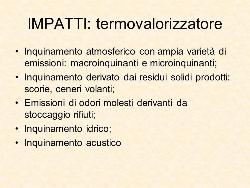 IMPATTI: termovalorizzatore Inquinamento atmosferico con ampia varietà di emissioni: macroinquinanti e microinquinanti; Inquinamento derivato dai resi