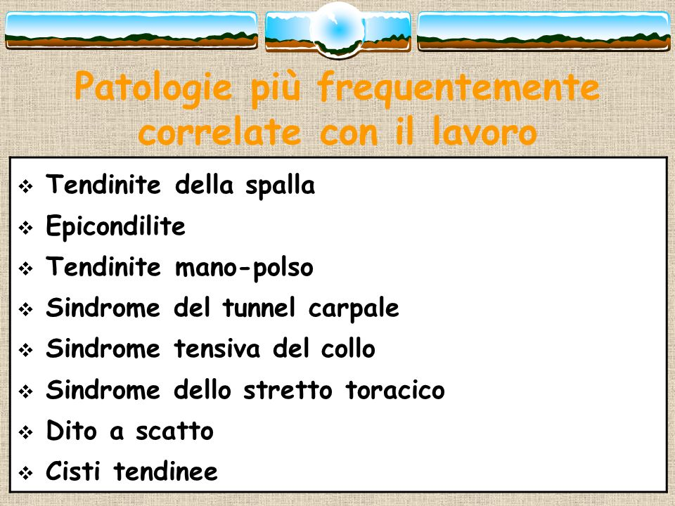 Patologie più frequentemente correlate con il lavoro Tendinite della spalla Epicondilite Tendinite mano-polso Sindrome del tunnel carpale Sindrome ten