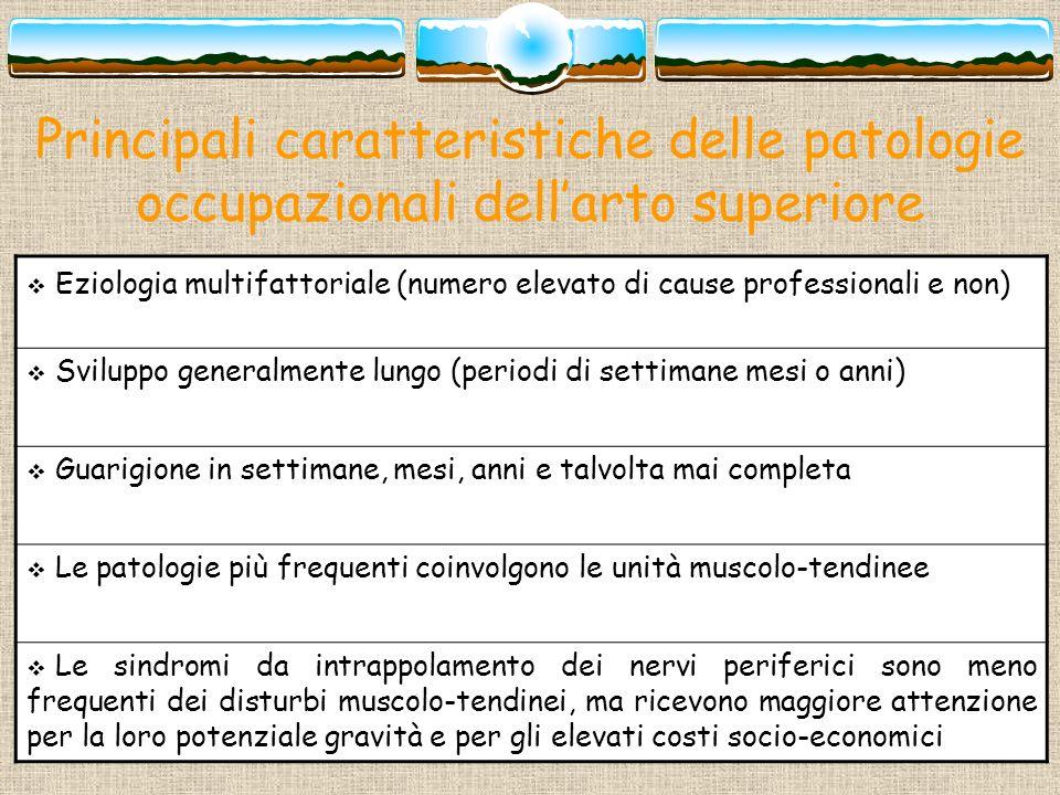 Principali caratteristiche delle patologie occupazionali dellarto superiore Eziologia multifattoriale (numero elevato di cause professionali e non) Sv