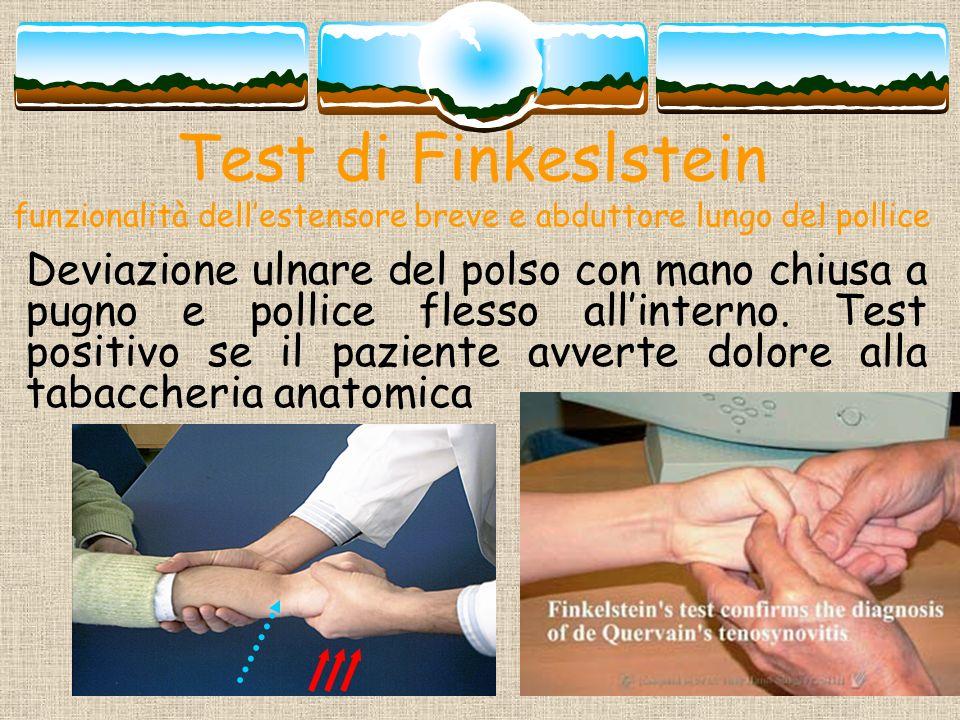 Test di Finkeslstein funzionalità dellestensore breve e abduttore lungo del pollice Deviazione ulnare del polso con mano chiusa a pugno e pollice fles