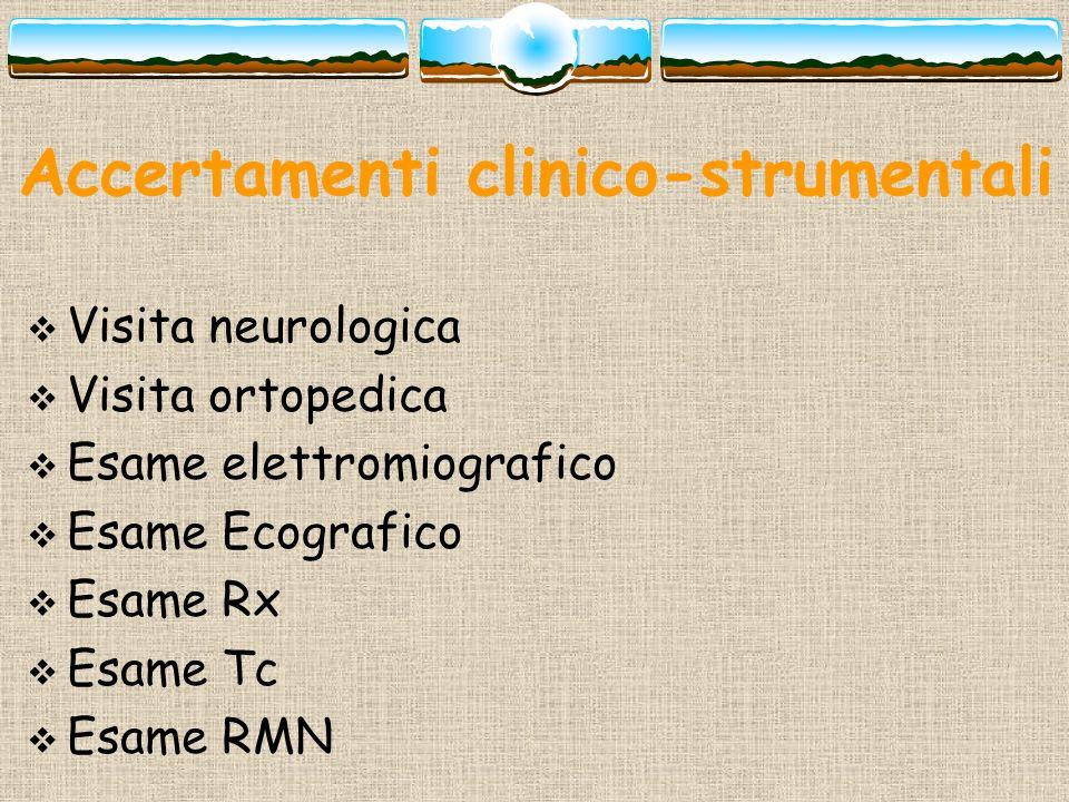 Accertamenti clinico-strumentali Visita neurologica Visita ortopedica Esame elettromiografico Esame Ecografico Esame Rx Esame Tc Esame RMN