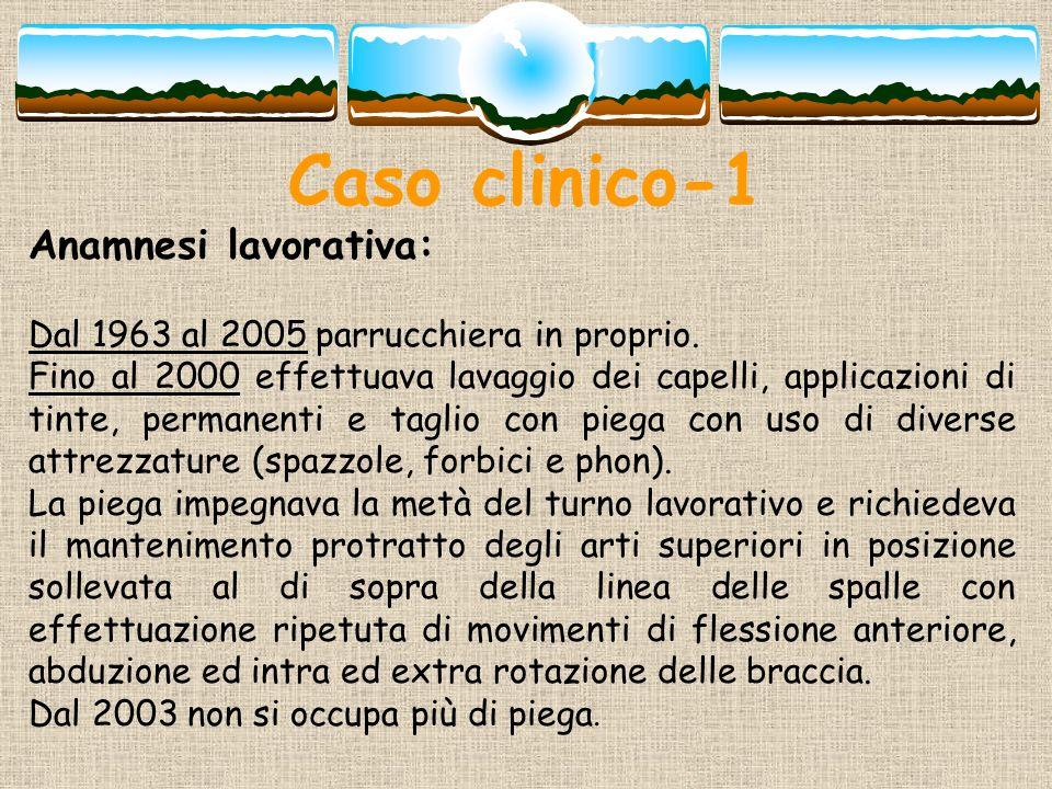 Caso clinico-1 Anamnesi lavorativa: Dal 1963 al 2005 parrucchiera in proprio. Fino al 2000 effettuava lavaggio dei capelli, applicazioni di tinte, per
