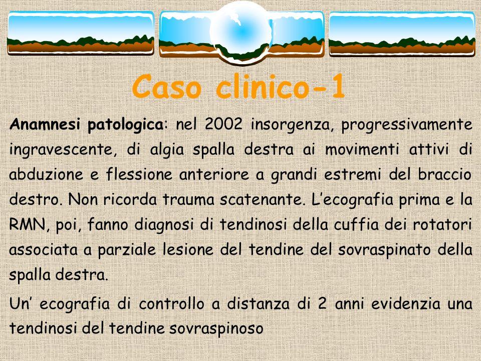 Caso clinico-1 Anamnesi patologica: nel 2002 insorgenza, progressivamente ingravescente, di algia spalla destra ai movimenti attivi di abduzione e fle