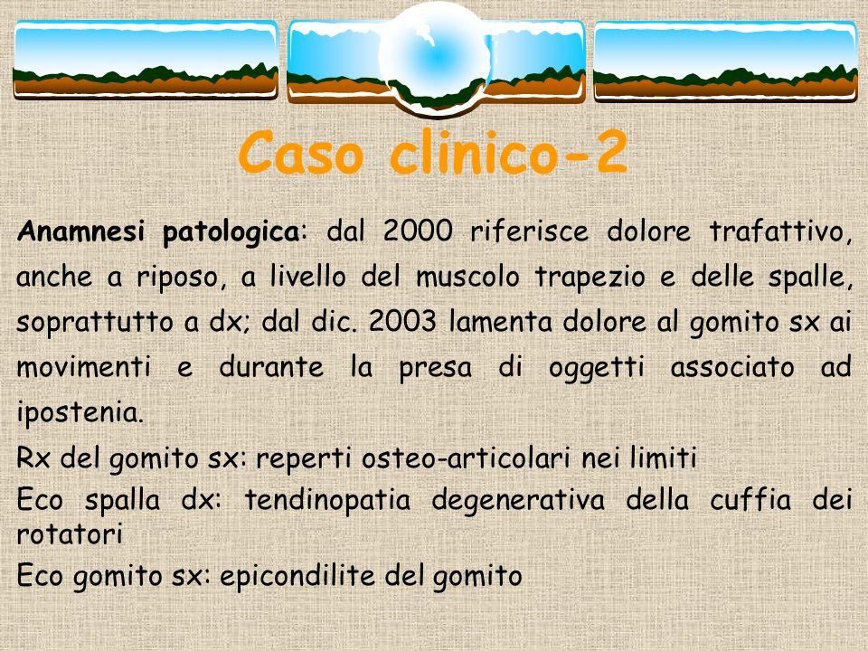 Caso clinico-2 Anamnesi patologica: dal 2000 riferisce dolore trafattivo, anche a riposo, a livello del muscolo trapezio e delle spalle, soprattutto a