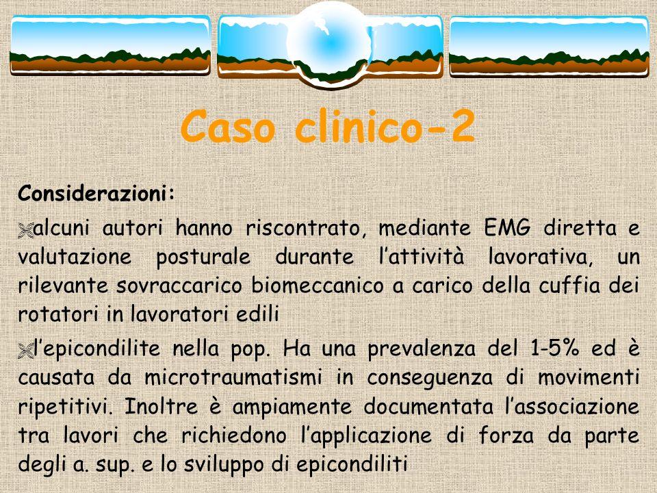 Caso clinico-2 Considerazioni: alcuni autori hanno riscontrato, mediante EMG diretta e valutazione posturale durante lattività lavorativa, un rilevant