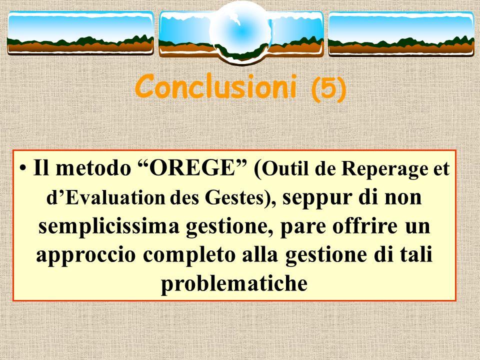 Conclusioni (5) Il metodo OREGE ( Outil de Reperage et dEvaluation des Gestes), seppur di non semplicissima gestione, pare offrire un approccio comple