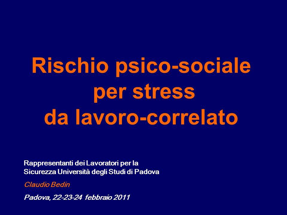 Rischio psico-sociale per stress da lavoro-correlato Rappresentanti dei Lavoratori per la Sicurezza Università degli Studi di Padova Claudio Bedin Padova, 22-23-24 febbraio 2011