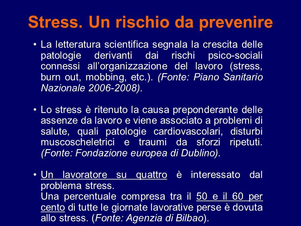 Stress. Un rischio da prevenire La letteratura scientifica segnala la crescita delle patologie derivanti dai rischi psico-sociali connessi allorganizz