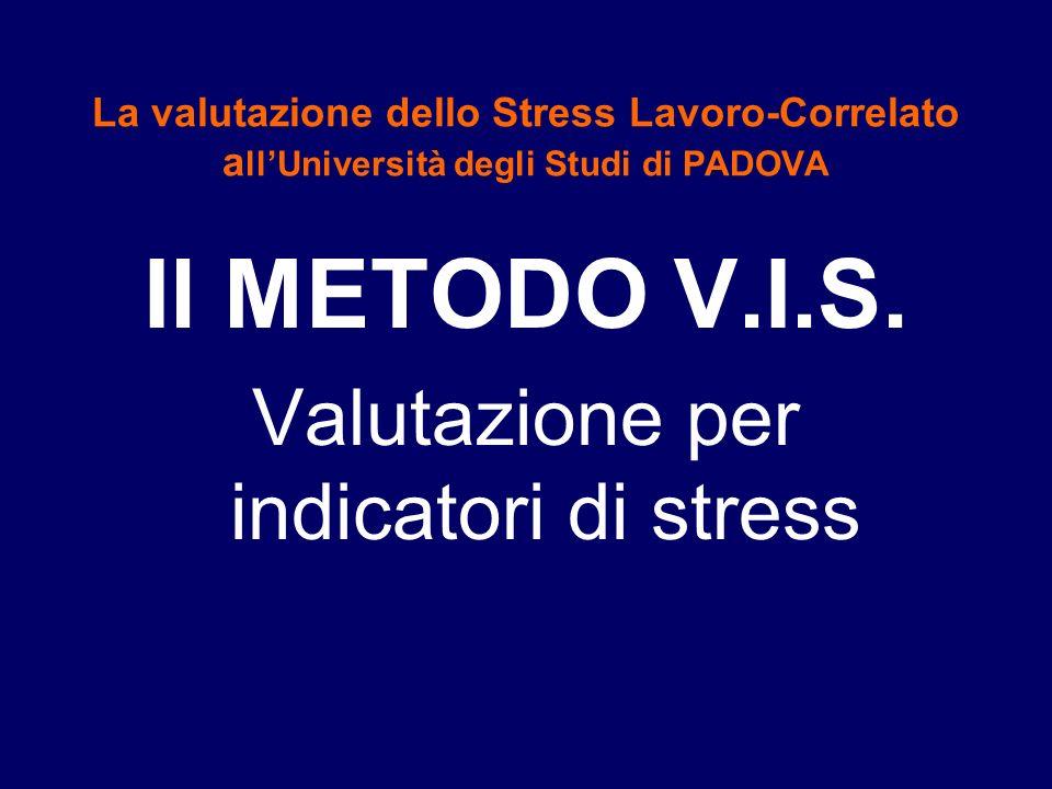 La valutazione dello Stress Lavoro-Correlato a llUniversità degli Studi di PADOVA Il METODO V.I.S. Valutazione per indicatori di stress