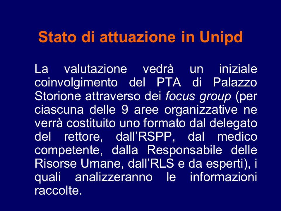 Stato di attuazione in Unipd La valutazione vedrà un iniziale coinvolgimento del PTA di Palazzo Storione attraverso dei focus group (per ciascuna dell