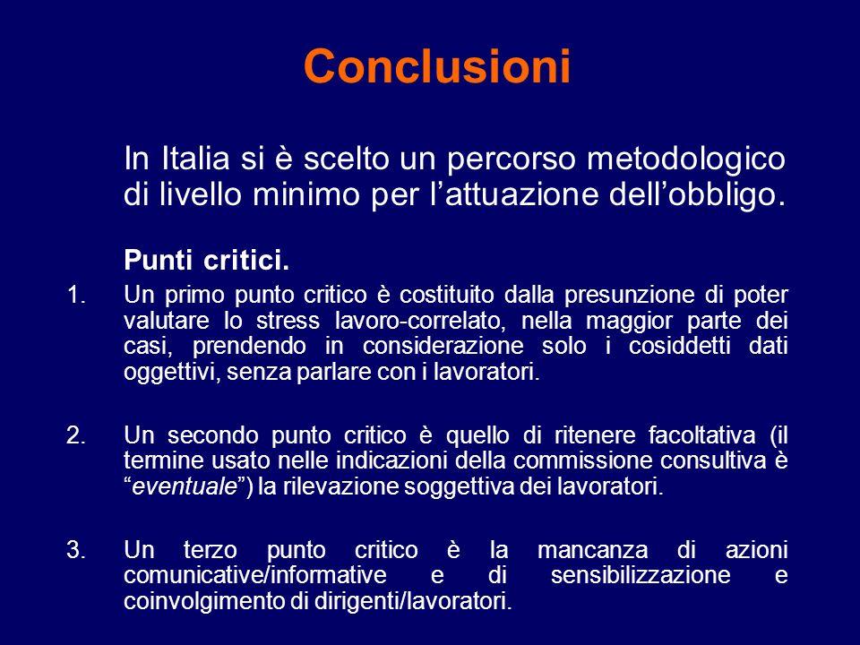In Italia si è scelto un percorso metodologico di livello minimo per lattuazione dellobbligo.