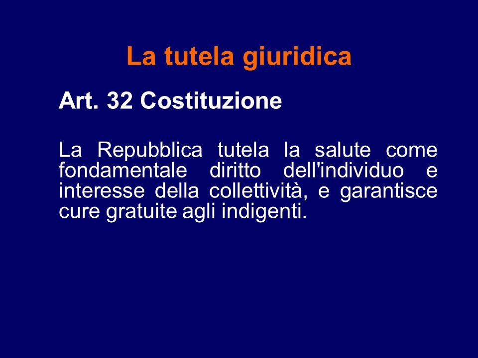 La tutela giuridica Art. 32 Costituzione La Repubblica tutela la salute come fondamentale diritto dell'individuo e interesse della collettività, e gar