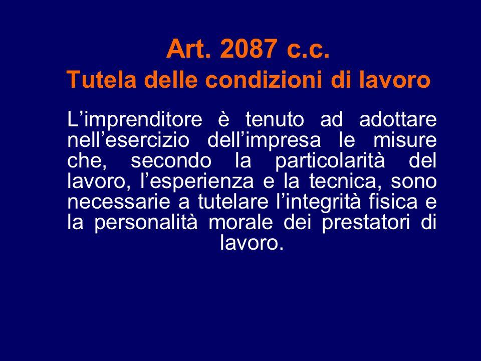 Art. 2087 c.c. Tutela delle condizioni di lavoro Limprenditore è tenuto ad adottare nellesercizio dellimpresa le misure che, secondo la particolarità