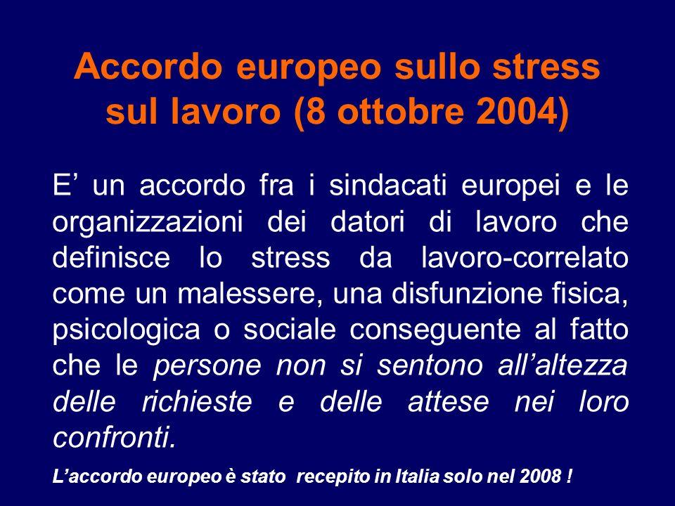 Accordo europeo sullo stress sul lavoro (8 ottobre 2004) E un accordo fra i sindacati europei e le organizzazioni dei datori di lavoro che definisce l