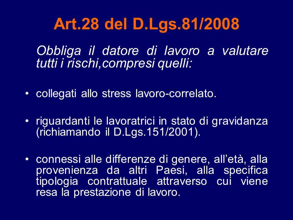 Art.28 del D.Lgs.81/2008 Obbliga il datore di lavoro a valutare tutti i rischi,compresi quelli: collegati allo stress lavoro-correlato.