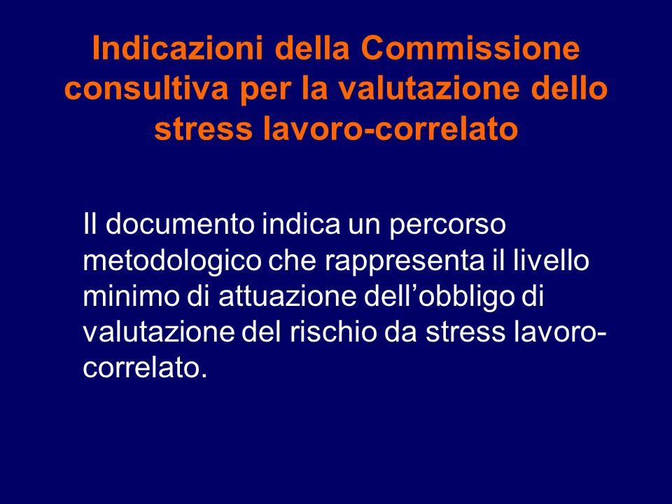 Indicazioni della Commissione consultiva per la valutazione dello stress lavoro-correlato Il documento indica un percorso metodologico che rappresenta il livello minimo di attuazione dellobbligo di valutazione del rischio da stress lavoro- correlato.