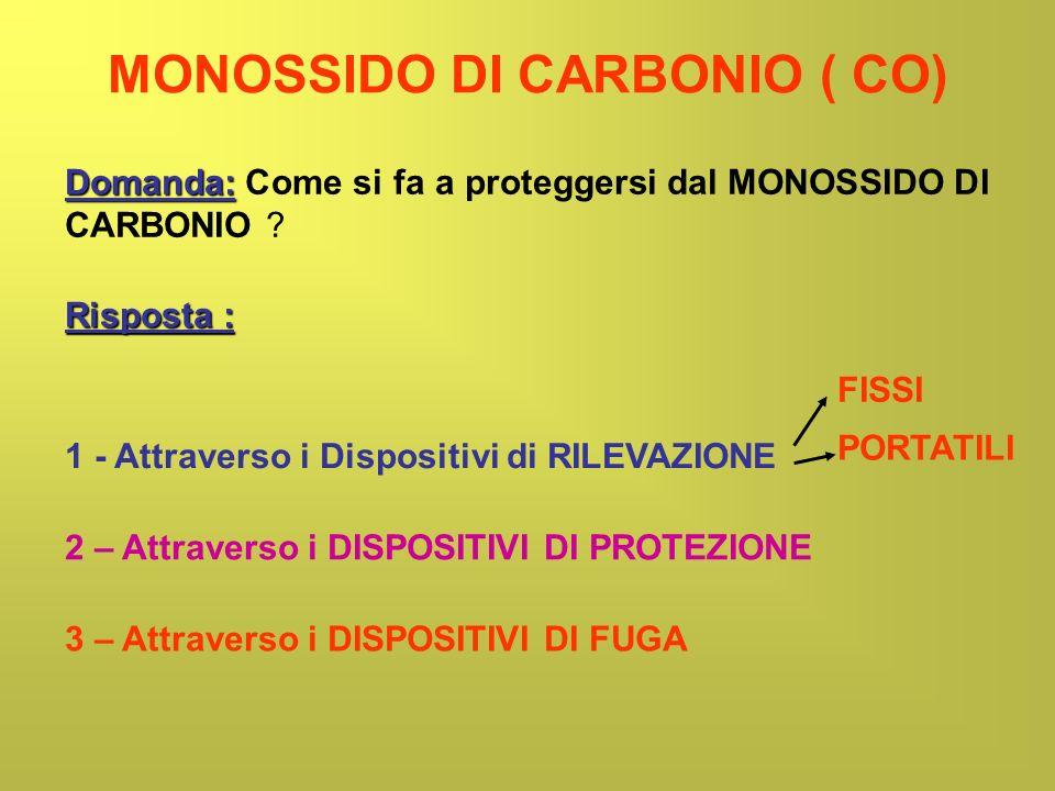 MONOSSIDO DI CARBONIO ( CO) Domanda: Domanda: Come si fa a proteggersi dal MONOSSIDO DI CARBONIO ? Risposta : 1 - Attraverso i Dispositivi di RILEVAZI