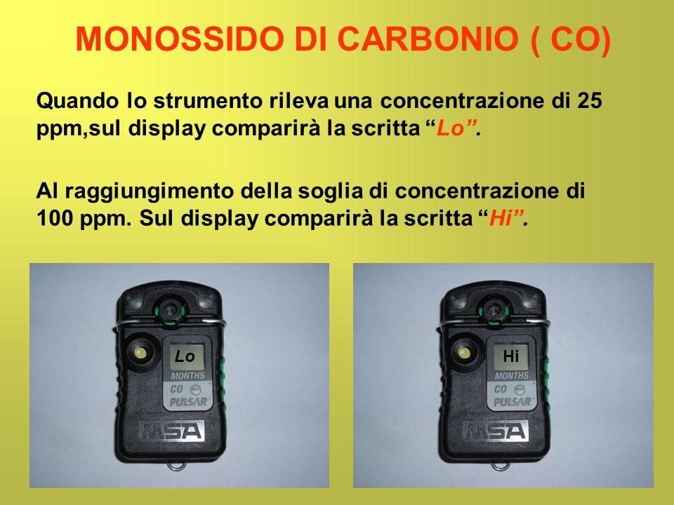 MONOSSIDO DI CARBONIO ( CO) Quando lo strumento rileva una concentrazione di 25 ppm,sul display comparirà la scritta Lo. LoHi Al raggiungimento della