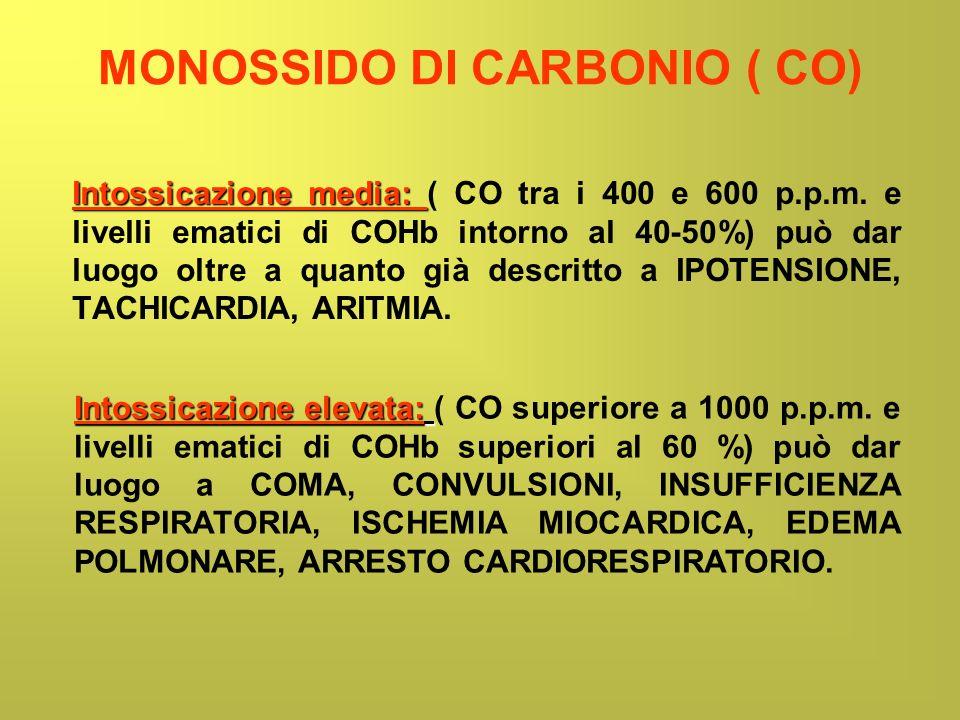 MONOSSIDO DI CARBONIO ( CO) Intossicazione media: Intossicazione media: ( CO tra i 400 e 600 p.p.m. e livelli ematici di COHb intorno al 40-50%) può d