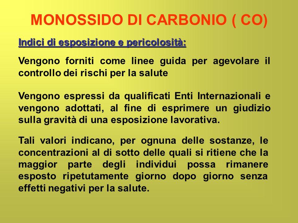 MONOSSIDO DI CARBONIO ( CO) Indici di esposizione e pericolosità: Vengono forniti come linee guida per agevolare il controllo dei rischi per la salute